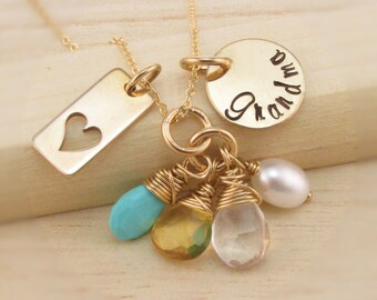 Hand Stamped Grandma Necklace Personalized 14K Gold Filled Jewelry Family Necklace Semi Precious Birthstones Nana Mimi Gigi Oma Mom