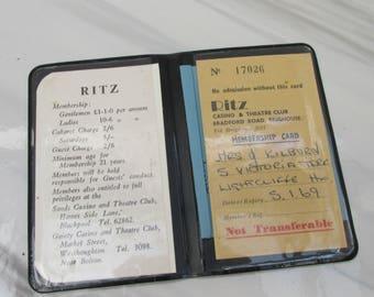 Vintage 1969 Ritz Brighouse Casino & Theatre Club Membership Cards in Wallet