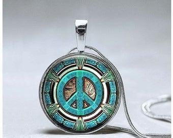 Peace Sign Necklace - Peace Sign Pendant - Peace Jewelry - Spiritual Necklace