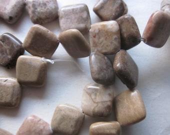 Tan Marble Beads 16x16mm 12 Beads