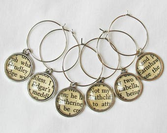 Wuthering Heights Wine Glass Charms Set - Emily Bronte Heathcliff Cathy Barware Homewares - Bookworm Foodie Gift Wine Lover Bookish Literary