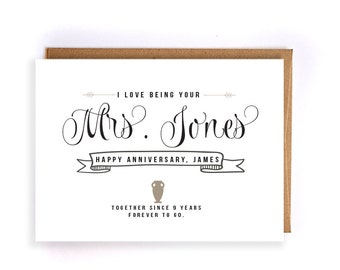 Custom name 9th anniversary cards for him, pottery anniversary card, cute handmade greeting cards for husband, anniversary gift for him GC62