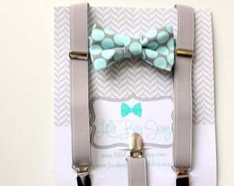 Mint Polka Dot Bow Tie with Grey Suspenders For Boys, Boys Suits, Baby Boy Bow Tie, Mint Wedding Bow Tie, Ring Bearer Outfit, Boys Suspender