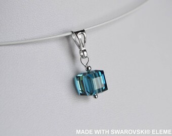 Cube SWAROVSKI Crystal pendant / 925 sterling silver