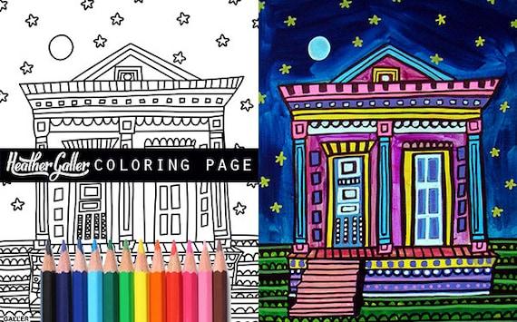 Mardi Gras French Quarter coloring