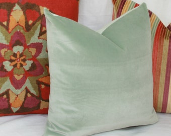 Mint green velvet throw pillow cover. 12x18 12x20 13x20 velvet Lumbar pillow Green velvet pillow