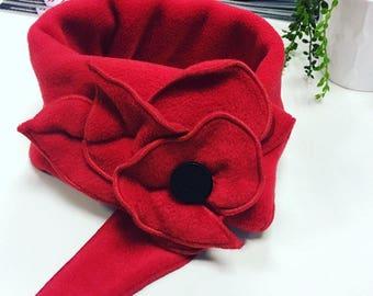 Bright Red poppy scarf