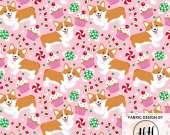 Corgi Christmas Treats Fabric By The Yard - Pembroke Welsh Corgi Whimsy Pink Holiday Print in Yard & Fat Quarter