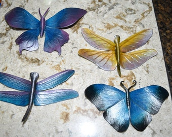 Leather wall hanging, butterfly and/or dragonfly