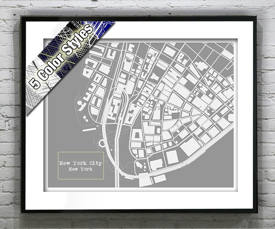 New york city blueprint map poster art print several sizes available malvernweather Choice Image