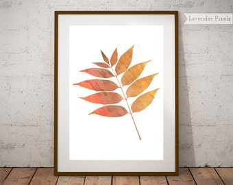 Leaf watercolor, fall gift, autumn decorations, fall leaves, orange wall art, printable watercolor, feminine art, fall poster print download