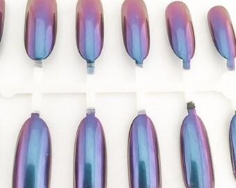 Metallic Nails, Chrome Fake Nails, Oval Nails, Long Nails, False Nails, Acrylic Nails, Press On Nails, Glue on Nails, Unjas