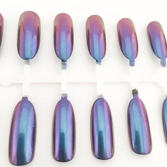 Clavos metálicos, cromo uñas postizas, uñas ovaladas, largas uñas ...