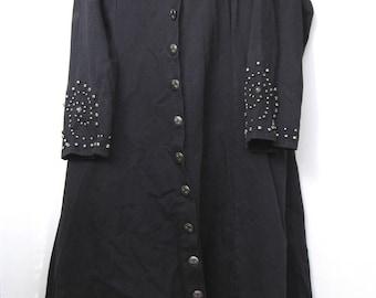 Black Stonework Trench Coat
