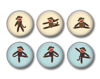 Sock Monkey pinback button badges or fridge magnets, fridge magnet set