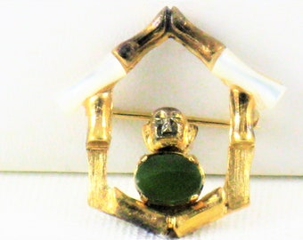 Vintage Wells Sterling Silver Gold Plated Jade and Mother of Pearl Bamboo Pagoda Buddhist Shrine Brooch Pin (B-4-5)