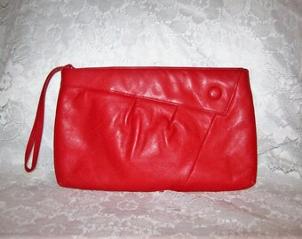 Vintage 1980s Red Leather Clutch Bag w/ Wrist Strap Only 7 USD