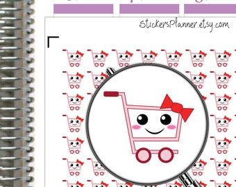 Shopping Stickers Planner Kawaii Stickers Kawaii Planner Grocery Stickers Planner Erin Condren Planner Happy Planner Shopping Planner (i68)