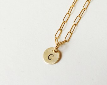 gold initial necklace - gold hand stamped charm necklace