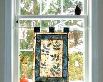 Leaf Play  ~ Bleached Art Stained Glass Look Pojagi Batik Window Treatment  / bohemian cafe / dorm curtain / boudoir curtain
