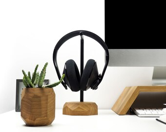 Headphone stand - headset stand, wooden headphone holder, headphone hanger, Wood Gift For Him Tech Audio Set Audiphile