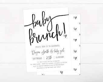 Baby Shower Brunch Invitation, Simple, Hearts, Gender Neutral Invitation, Printable (846)