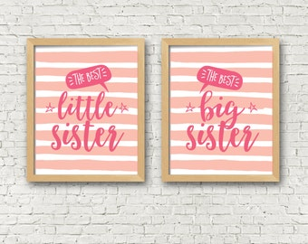 Sister Wall Art set of 2 - Girls room decor - sisters room decor - sisters wall art printables set of 2 art prints big sister little sister  sc 1 st  Etsy & Sisters wall art | Etsy