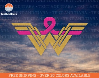 Wonder Woman Breast Cancer Survivor - Vinyl Decal Car Decal Laptop Decal Water Bottle Decal Bumper Sticker Yeti Decal Cancer Fighter