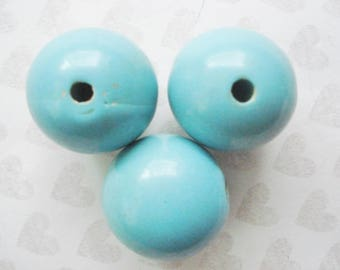 Vintage Lucite Ball Beads - 3 Jumbo Plastic Beads - Extra Large Turquoise Ball Beads -