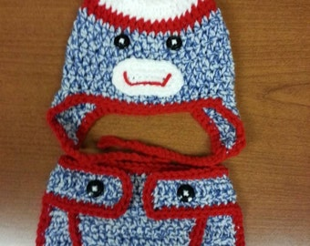 Blue tweed Newborn size Sock Monkey inspired Hat and Diaper Cover.