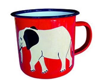Mug, Enamelware (Tin), Bright red with white elephant design, hand decorated
