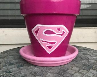 Pink Superman Flower Pot