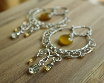 Wire Wrapped Earrings—Yellow Gemstone and Sterling Silver—Ready-to-Ship