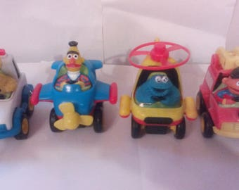 Vintage Rare Lot Of Four 80s iIlco Sesame Street cookie monster ,Big Bird, Burt & Ernie Wind-Up Toys, All  Work
