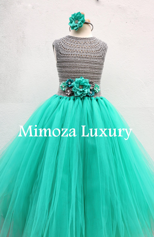 Teal green & Silver Flower girl dress teal green tutu dress