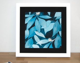 Ivy 23cm Watercolour Print  | Signed Glicee Print | 23cm x 23 cm Square | by Hannah Knapton | Teal, Dark Blue and Pale Yellow