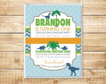 "PRINTED Dino Day 4.25"" x 5.5"" Dinosaur Birthday Invitation with envelope in light blue, dark blue, green, orange, and yellow"