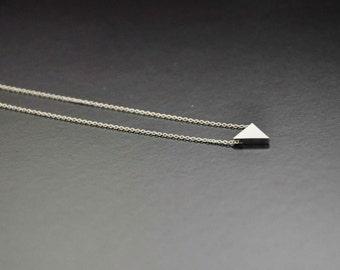Silver Triangle Necklace- Minimal Jewelry, Dainty Necklace, Layering Necklace, Tiny Triangle, Minimal Triangle, Geometric Necklace
