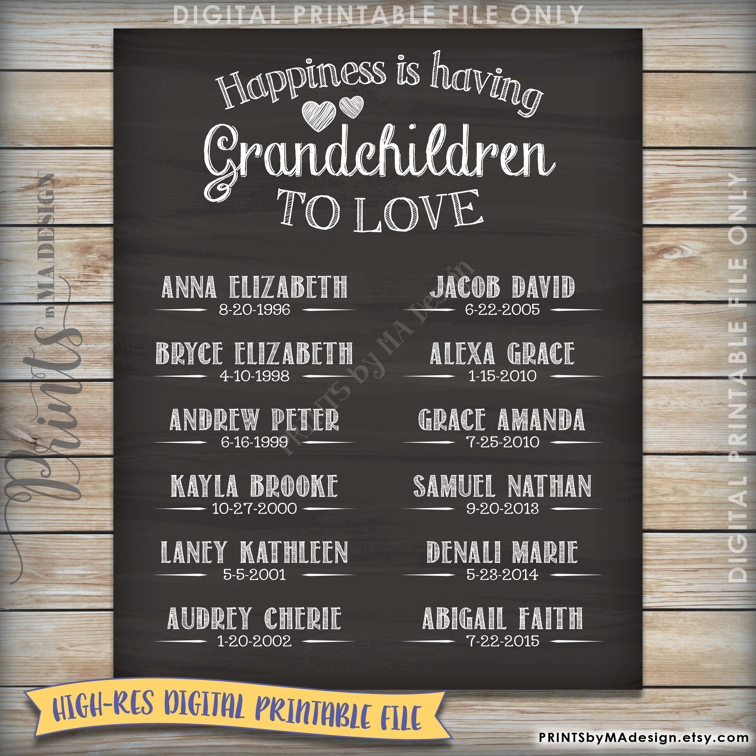 Grandchildren Sign, Personalized Grandkids Sign with Names ...