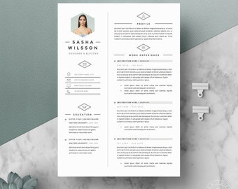 """5 page Resume Template / CV Template Pack + Cover Letter for Word + icon pack 