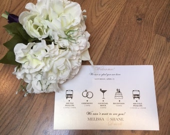 Wedding Itinerary for Hotel Guests