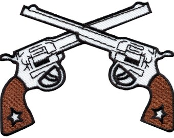Six guns pistols cowboy western outlaw embroidered applique iron-on patch