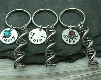 DNA Family Keychain / Keyring, Family Name Gift, DNA Genetics Gift, Xmas Gift, Science Gift, Gene Gift, Christmas