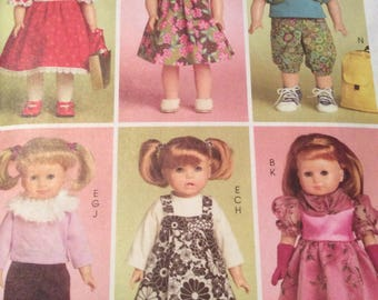18 Inch Doll Clothes Pattern,American Girl Clothes Pattern,McCalls M5554,Dress,Jumper,Gloves,Leggings,Fur Collar,Pants,Long Dress,Backpack