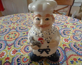French Chef and Chicken Cookie Jar Cook wearing Polka Dots Baker Kitchenalia Limited Edition