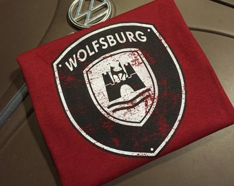 Volkswagen Wolfsburg Crest 2 color Distressed Full front print on Antique Red 100% cotton T-shirt S-2XL.