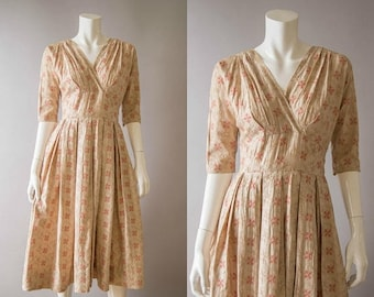 SEMI ANNUAL SALE vintage 1950s dress / 50s embroidered cotton dress / extra small