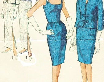 1960s Womens Bombshell Dress in 2 Lengths Evening Gown & Jacket Simplicity Sewing Pattern 5658 Size 12 Bust 32 Vintage Sewing Patterns