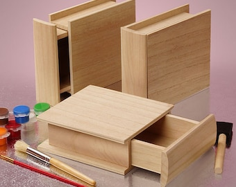 New Wooden box unfinished Paulownia wood open like small Drawer Resemble hardcover book Stack or Store Upright on Shelf 4-11/16x3-5/16x1-3/8