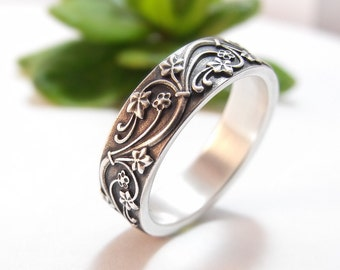 Womens Wedding Band For Her Mens Wedding Ring Sterling Silver Wedding Band Womens Wedding Ring Mens Wedding Band Vines Wedding Art Deco Ivy